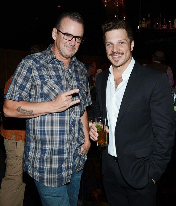 Troy Burgess and Mark Shunock attend 1923 Bourbon & Burlesque grand opening at Mandalay Bay