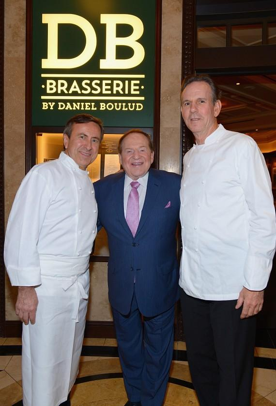 Chef Daniel Boulud, Chairman and CEO of Las Vegas Sands Corporation Sheldon Adelson, Chef Thomas Keller at the entrance to db Brasserie
