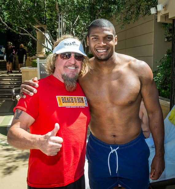 Sammy Hagar and Michael Sam at Azure Luxury Pool at The Palazzo Las Vegas