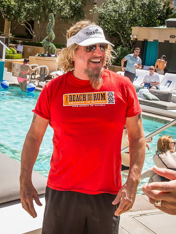 Sammy Hagar and Michael Sam sighted at Azure Luxury Pool at The Palazzo Las Vegas
