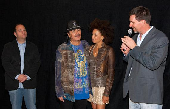 Bobby Reynolds of AEG Live, Carlos Santana, Cindy Blackman and Paul Davis of Hard Rock Hotel