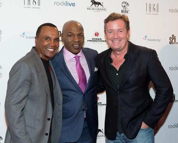 Retired boxer Sugar Ray Leonard with Mike Tyson and talk show host Piers Morgan