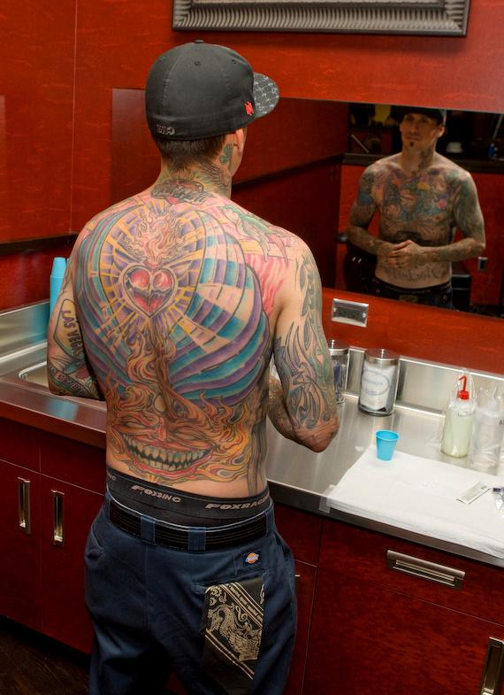 Carey Hart and Hart and Huntington Tattoo in Hard Rock Hotel