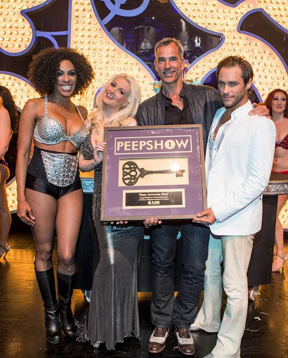 Cheaza, Holly Madison, Jerry Mitchell and Josh Strickland with personalized antique key and plaque