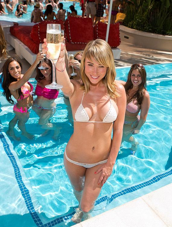 Sara Underwood at Encore Beach Club Season Grand Opening Celebration
