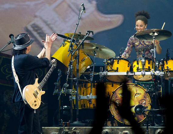 Carlos Santana and his wife, drummer Cindy Blackman at The Joint