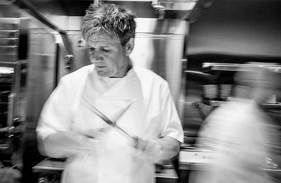 Gordon Ramsey in the kitchen of his steakhouse in Paris Las Vegas
