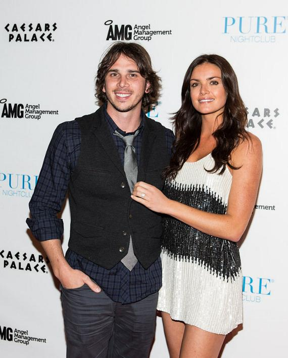 """Ben Flajnik and Courtney Robertson of """"The Bachelor"""" arrive at PURE Nightclub"""
