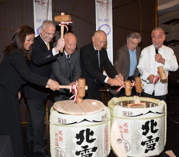 Robert De Niro and Chef Nobu Matsuhisa in the Saki Ceremony