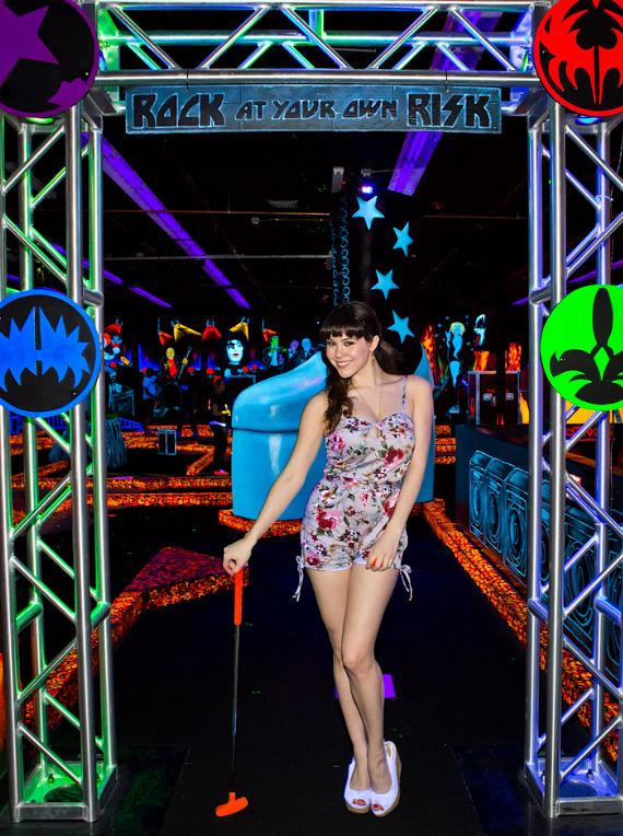 Claire Sinclair at the entrance to KISS Monster Mini Golf in Las Vegas