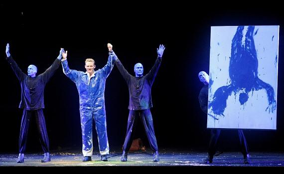 Corey Perry joins Blue Man Group on stage