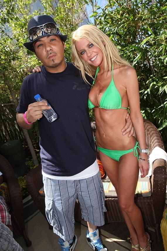 Baby Bash and Tara Reid at Palms Pool