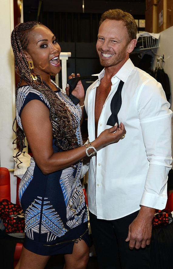 Vivica Fox with Ian Ziering at Chippendales at The Rio All-Suite Hotel and Casino in Las Vegas