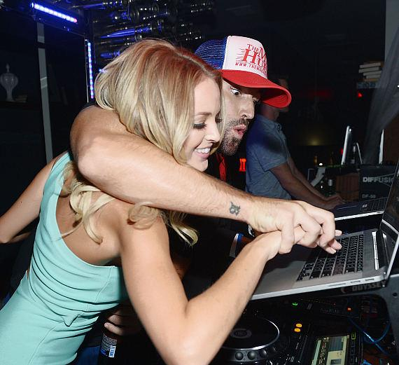 Brody Jenner and his girlfriend Kaitlynn Carter during Jenner's Las Vegas DJ debut at Hyde Bellagio