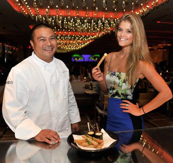 Executive Chef Joseph Elevado with Nina Agdal in Andrea's in Encore