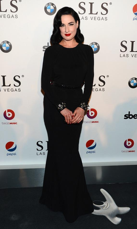 Model Dita Von Teese attends the SLS Las Vegas grand opening celebration