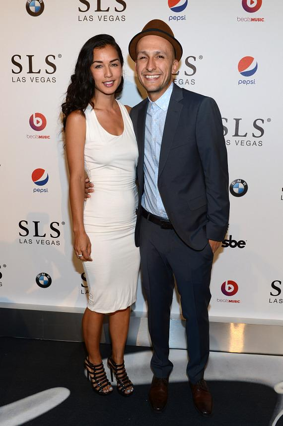 Angela Aguirre and DJ Vice attend the SLS Las Vegas grand opening celebration