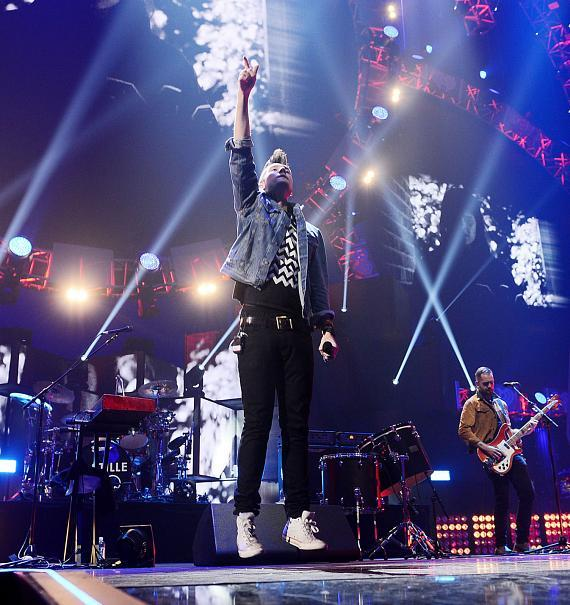 Musician Dan Smith of Bastille performs onstage during the 2014 iHeartRadio Music Festival at the MGM Grand Garden Arena