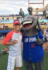 General Manager at Wet'n'Wild Las Vegas Throws Ceremonial First Pitch at Las Vegas 51s Game