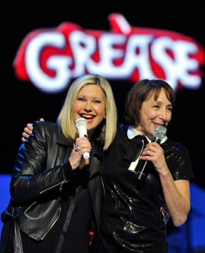 "Actress Didi Conn and Olivia Newton-John sing ""Summer Nights"" at Flamingo Las Vegas"