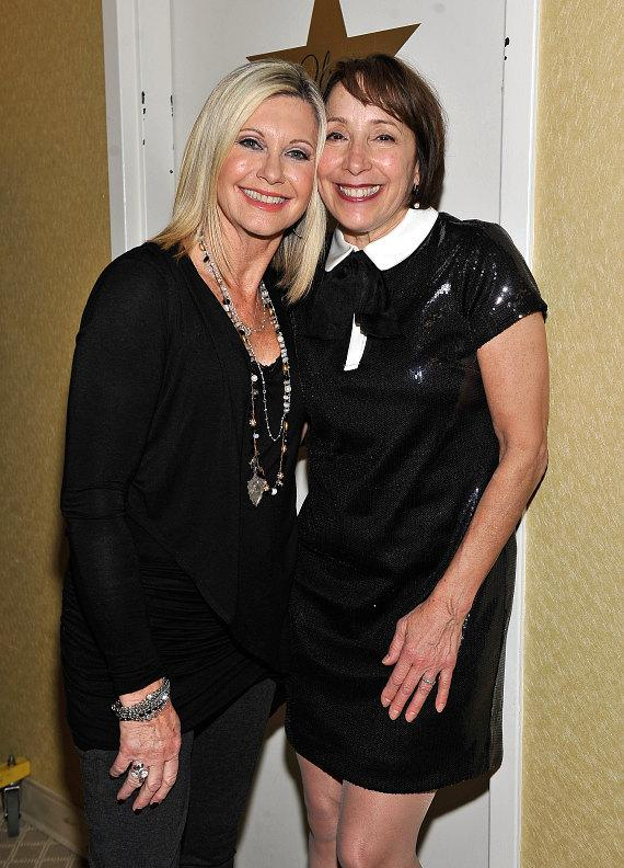 Actress Didi Conn and Olivia Newton-John backstage at Flamingo Las Vegas