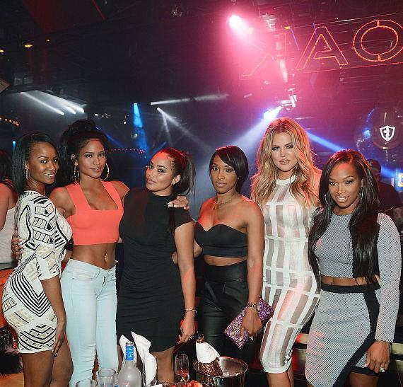 Brandi Wilson, Cassie, Lauren London, Malika Haqq, Khloe Kardashian and Khadijah Haqq attend 1 OAK Nightclub at The Mirage Hotel and Casino