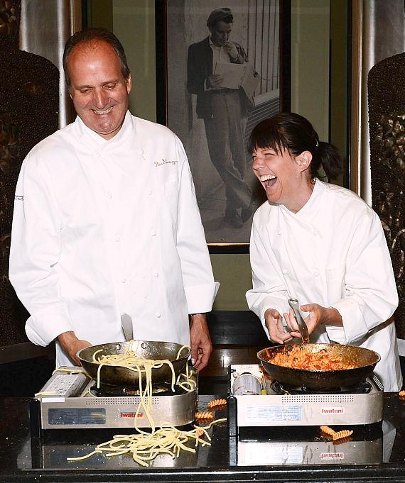 Sinatra Executive Chef Theo Schoenegger and Sinatra's Granddaughter A.J. Lambert Lead an Cooking Class in Sinatra Restaurant at Wynn Las Vegas