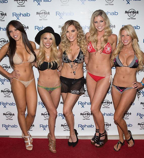 Crystal Hefner and friends on red carpet at REHAB at Hard Rock Las Vegas