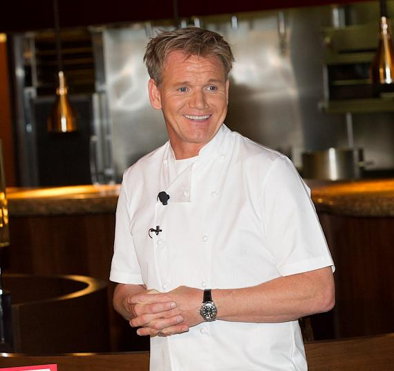 Gordon Ramsay demonstrates cooking techniques at Gordon Ramsay Steak at Paris Las Vegas