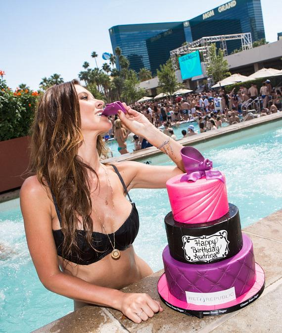 Audrina Patridge with birthday cake at Wet Republic