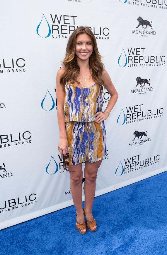 Audrina Patridge on the blue carpet at Wet Republic