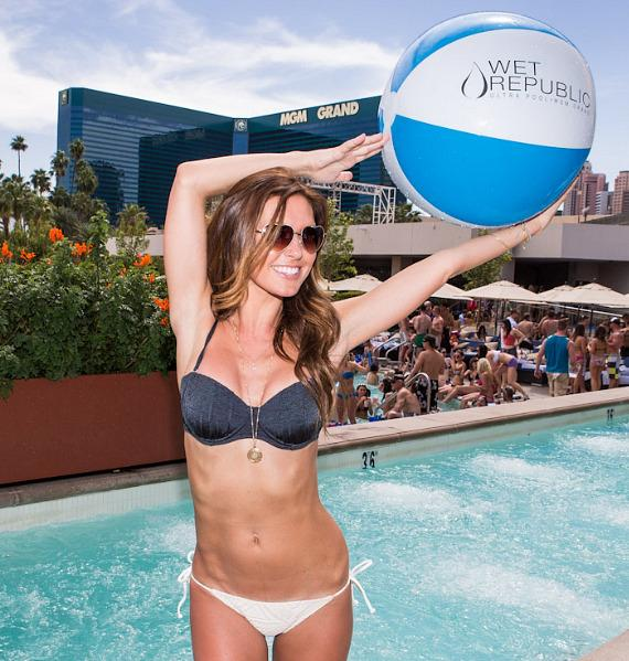 Audrina Patridge with beach ball at Wet Republic