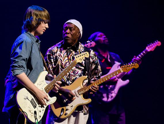 Guitarist Buddy Guy performs with 12-year old blues guitarist Quinn Sullivan at The Smith Center For The Performing Arts in Las Vegas