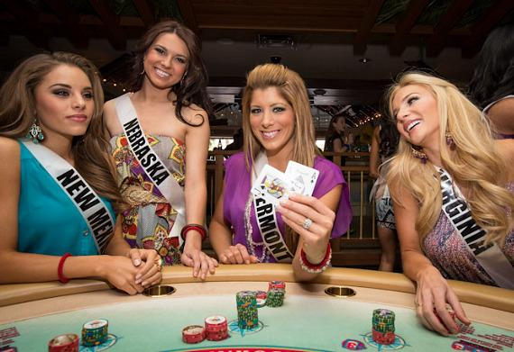 Miss USA contestants play Blackjack at Margaritaville Casino at Flamingo Las Vegas