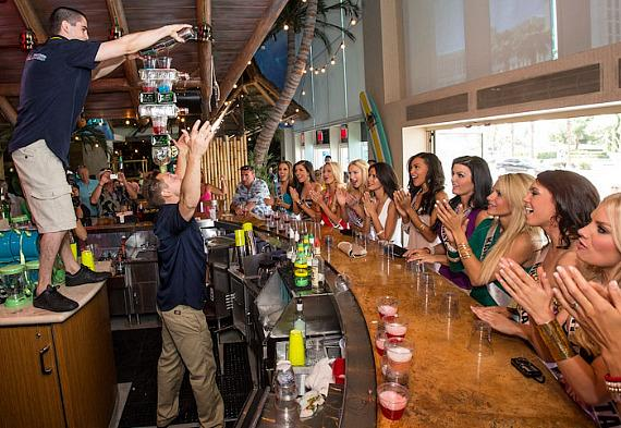 Miss USA contestants watch bartender flair demonstration at Margaritaville Casino at Flamingo Las Vegas