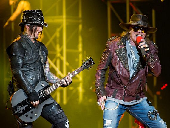 DJ Ashba and Axl Rose perform at The Joint in Hard Rock Las Vegas