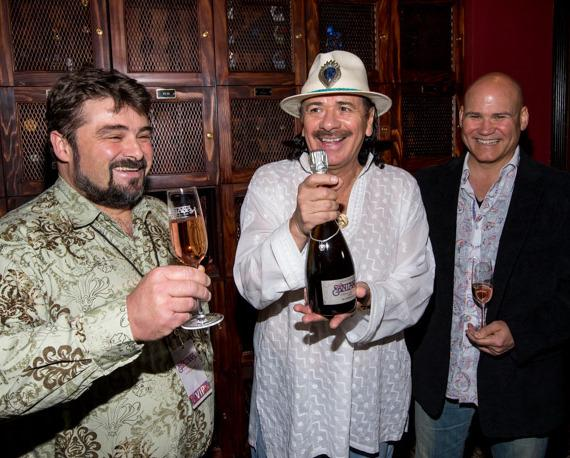 Ludovic Dervin, Winemaker for Mumm Napa with Carlos Santana and Andrew Economon, GM of House of Blues and Foundation Room Las Vegas