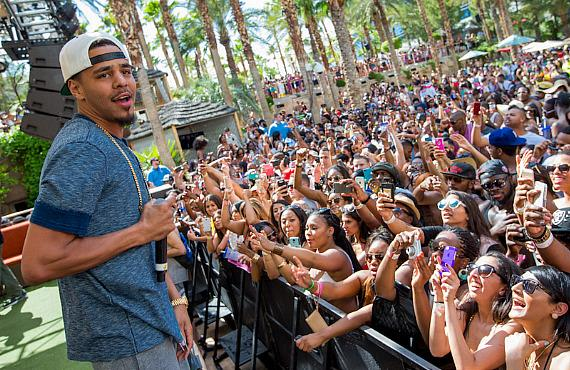 J Cole performs at REHAB at Hard Rock Hotel & Casino in Las Vegas