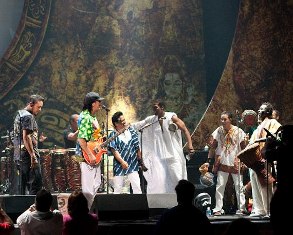 Carlos Santana with guest group of percussionists from THE LION KING show at