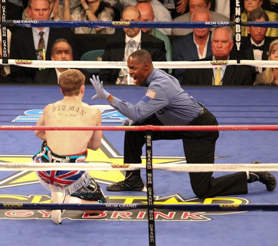 Hatton takes a count by referee