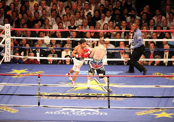 Pacquiao set up the first knockdown in round one