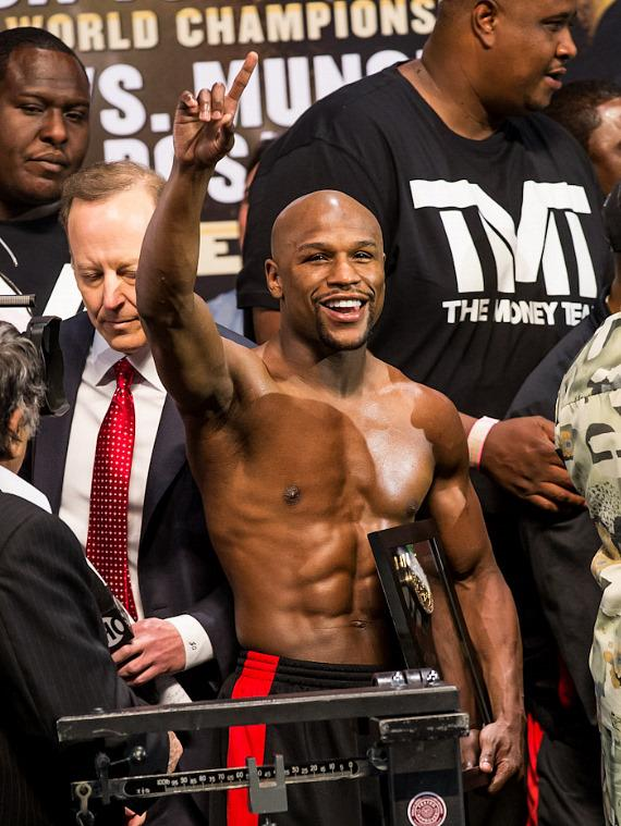Floyd Mayweather, Jr. weighs in at MGM Grand Arena in Las Vegas
