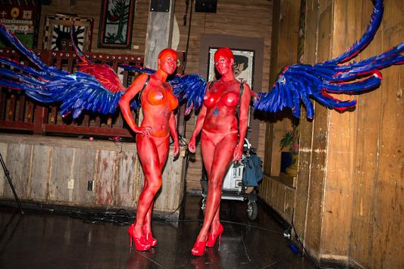 Girls with wings at the grand opening
