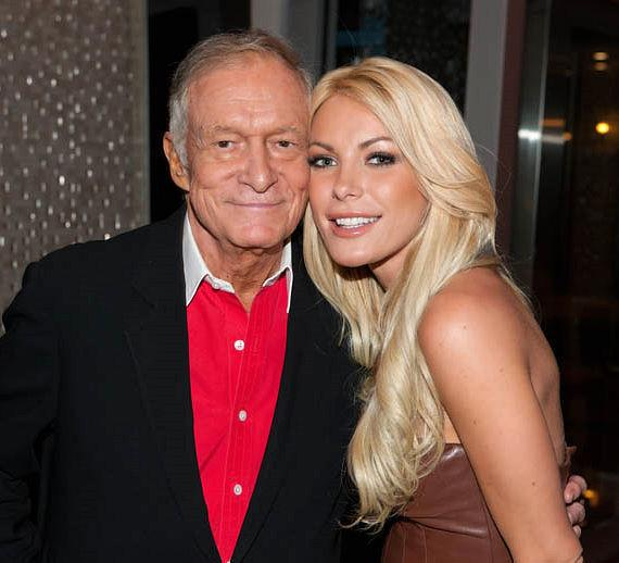 Hugh Hefner and his one time fiance Crystal Harris pictured here during happier times, at the Hefner Sky Villa at The Palms Resort