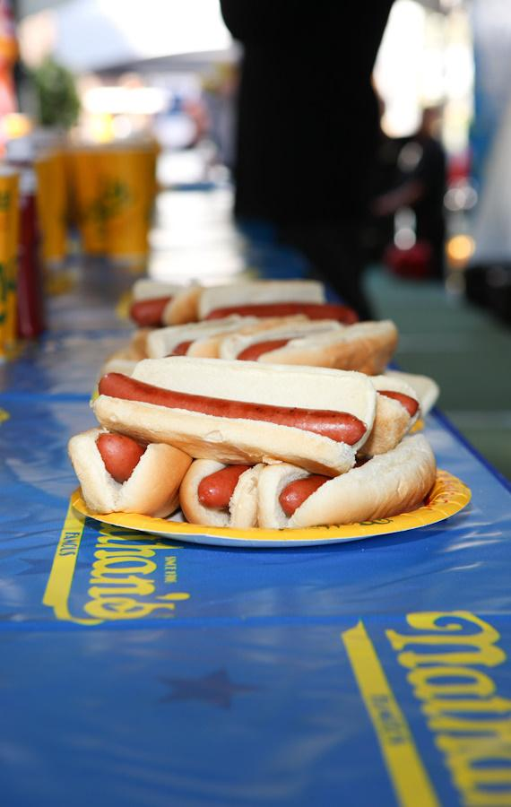 The Nathan's hot dogs are ready
