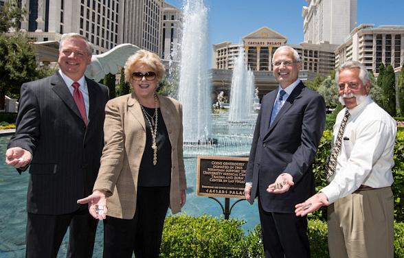 University Medical Center Chief Executive Officer Brian Brannman, Las Vegas Mayor Carolyn Goodman, Caesars Palace President Gary Selesner and University Medical Center Director of Trauma and Burn Care Gregg Fusto
