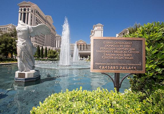 Coins tossed in the famed fountains in front of Caesars Palace will now be donated to support the life-saving work of the city's University Medical Center Trauma Center and Lions Burn Care Unit (UMC)