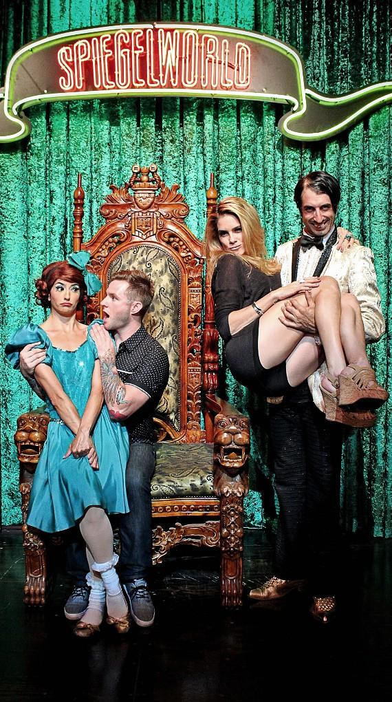 Penny Pibbets, Blake Lewis, Tiffany Michelle and The Gazillionaire backstage at ABSINTHE in Las Vegas
