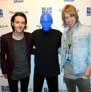 Bryce Soderberg and Steve Stout of Lifehouse at Blue Man Group Las Vegas inside Monte Carlo Resort and Casino