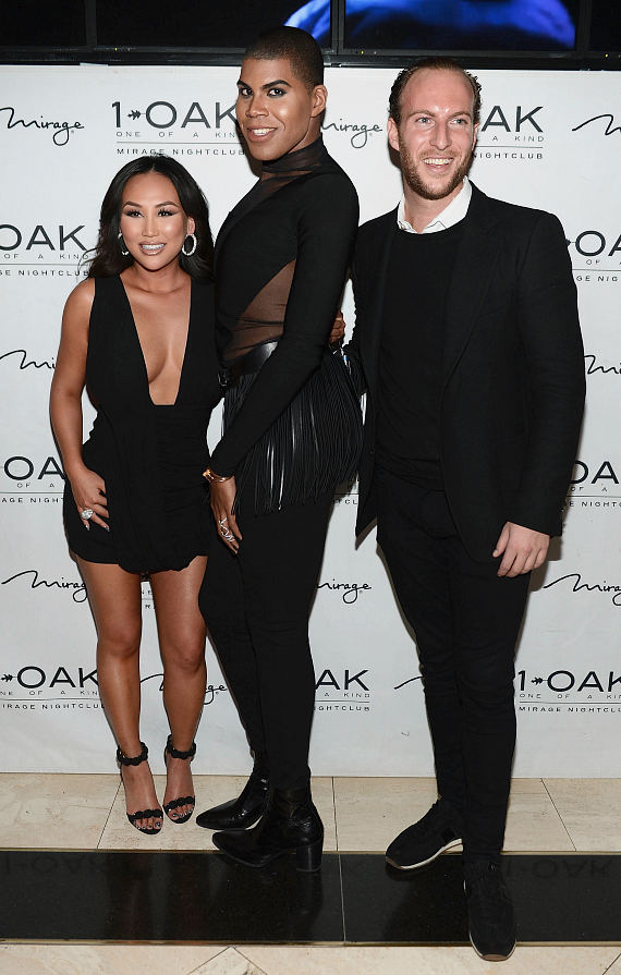Dorothy Wang, EJ Johnson and Brendan Fitzpatrick arrive at Dorothy Wang's birthday celebration at 1 OAK Nightclub at The Mirage Hotel & Casino
